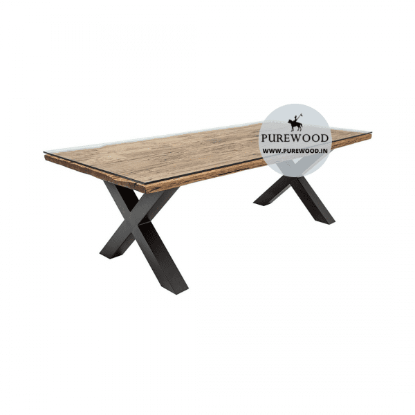 Glass Top Industrial Table with Cross Lag