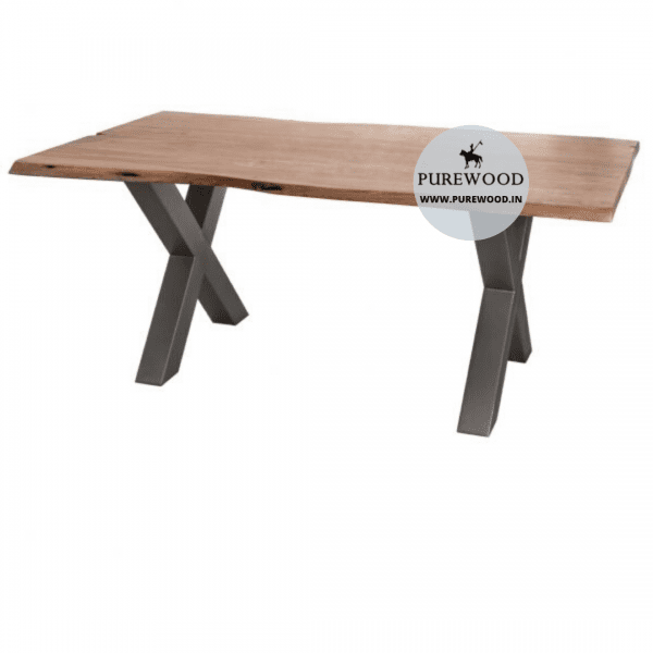 Live Edge Industrial Table with Cross Lag